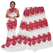 Африканская кружевная ткань с бисером, 5 ярдов, вышитая сетчатая кружевная ткань, африканская кружевная ткань, высококачественное гипюрово...(Китай)
