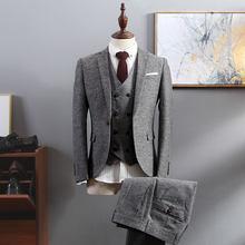 Мужской твидовый костюм Traje Hombre, коричневый, с узором в елочку, деловой мужской костюм, костюм из 3 предметов, 2020(Китай)