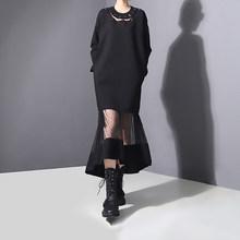 Женское длинное платье EAM, черное ажурное платье в горошек с длинным рукавом, круглый ворот, свободный крой, весна-осень 2020, JO26601(Китай)