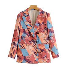 Женский двубортный Блейзер KPYTOMOA, винтажный пиджак с длинными рукавами и карманами, верхняя одежда для женщин 2020(Китай)