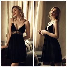 Французская сексуальная пижама, Женская кружевная ночная рубашка с открытой спиной и v-образным вырезом, бархатное ночное белье, зимняя ноч...(Китай)