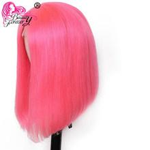 """Beauty Forever Red Bob парик 13*4 кружевные передние человеческие волосы парики 8-14 """"прямые короткие тупые Обрезанные боб парик глубокая часть короткие ...(Китай)"""