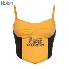 Женский укороченный топ kalien, черно-желтый топ в стиле пэчворк, модная простая эстетичная футболка, лето 2020(Китай)