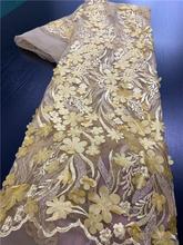 Африканские кружевные ткани с бусинами, 3d кружевные ткани, 2018 высококачественные кружевные нигерийские французские кружевные ткани для св...(Китай)