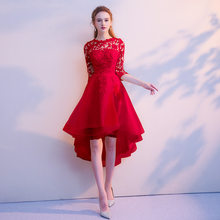 Платье подружки невесты es It's Yiiya R208 элегантное кружевное платье подружки невесты с коротким рукавом 2020 Черные Высокие Низкие Свадебные плат...(China)