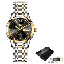 Женские кварцевые часы LIGE, кварцевые наручные часы золотого цвета, 2019(China)