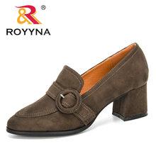 ROYYNA/Новинка 2020 года; дизайнерские пикантные женские туфли-лодочки на каблуке; элегантная офисная обувь; женские модельные туфли из флока с п...(China)