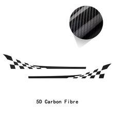 2 шт. гоночная решетка Стайлинг двери боковые полосы стикер графика Виниловая наклейка для тела для MINI Cooper R50 R52 R53 аксессуары(Китай)