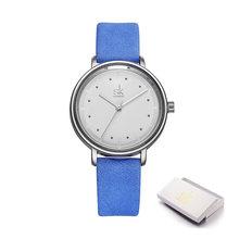 Shengke цветные уникальные простые женские часы Ретро кожаные женские часы Топ бренд женские модные наручные часы Montre Femme(China)