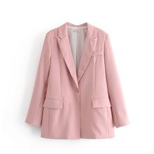 Осень OL Work 2020 брючный костюм женский офисный пиджак на одной пуговице + брюки на молнии синий розовый комплект из 2 предметов женская верхняя...(Китай)