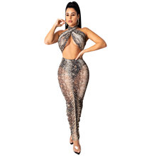 ANJAMANOR Змеиный Гепард печати чистой сетки комплект из двух частей сексуальный клубный наряды Женская юбка с высокой талией с топом костюм ...(Китай)