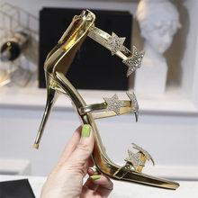 2019 100% реальные кожаные сандалии Для женщин пикантные туфли с открытым носком высокий тонкий каблук Сандалии под платье, для вечеринки Золот...(Китай)