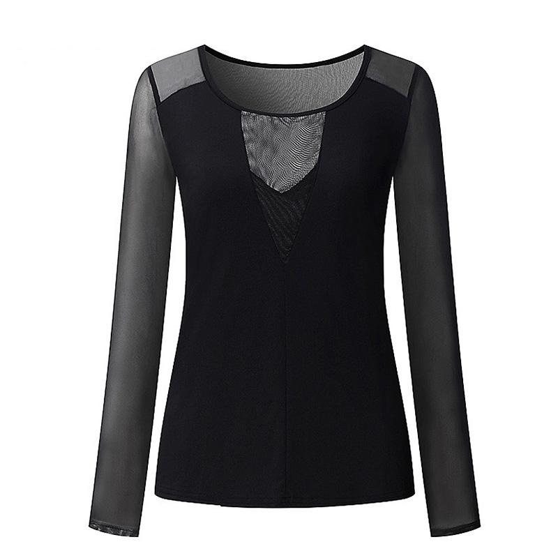 Сексуальная Женская прозрачная блузка с длинным рукавом и v-образным вырезом, Лоскутная черная сетка, Женские топы и блузки 2020, новые летние ...(Китай)
