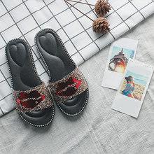 Лето Женщины Тапочки блеск помады губы женщины Flats дамы Rhinestone вскользь Слайды Женский Нескользящие пляжная обувь Плюс Размер(Китай)