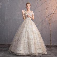Роскошные свадебные платья золотистого цвета с v-образным вырезом и открытыми плечами; бальное платье на шнуровке; элегантные блестящие веч...(Китай)