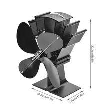 Черный камин 4 лопасти вентилятор для печи, работающий от тепловой энергии komin древесины горелки экологически чистые тихий вентилятор дома ...(Китай)