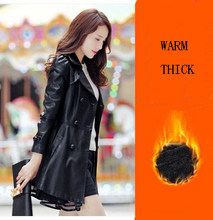 Женская кожаная куртка средней длины, черная приталенная куртка из искусственной овчины, 6XL(Китай)