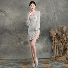 Женское платье на выпускной It's Yiiya, элегантное однотонное мини-платье на молнии с v-образным вырезом и длинным рукавом, расшитое блестками, ...(Китай)