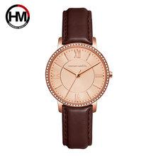 Relogio Feminino, роскошные брендовые часы, женские кварцевые часы, розовое золото, кожа, Брендовые женские наручные часы с кристаллами, водонепрон...(Китай)