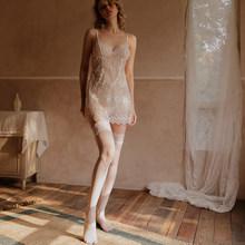 Летнее женское белье Феи белого цвета, сексуальное женское белье, элегантное женское соблазнительное платье на бретелях, кружевное цветочн...(Китай)