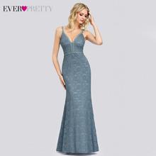 Сексуальное синее кружевное вечернее платье Ever Pretty EP00846, с треугольным вырезом, без рукавов, на тонких бретельках, прозрачные вечерние плать...(Китай)