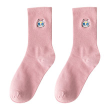 Женские хлопковые носки с рисунком Луны и кошек, милые однотонные носки в уличном стиле для осенне-зимнего сезона(Китай)