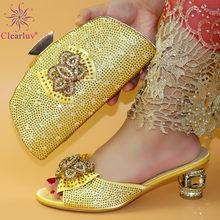 Новое поступление; Комплект из туфель и сумочки в нигерийском стиле золотого цвета; Украшенный кристаллами; Женский комплект из обуви и сум...(Китай)