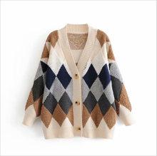 Кардиган кимоно, Осенний винтажный клетчатый свитер, кардиганы с v-образным вырезом, повседневные женские свитера, вязаная зимняя одежда(Китай)