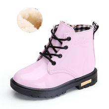 Детские кожаные ботинки для мальчиков и девочек, модные теплые зимние ботинки из искусственной кожи для весны и осени, 2019(Китай)
