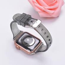 Блестящий силиконовый ремешок для часов Apple Watch 5 42 мм 44 мм 38 мм 40 мм Тонкий прозрачный браслет ремешок correa для iwatch 5 4 3 2(Китай)