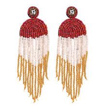 Женские длинные серьги-кисточки ручной работы, богемные вечерние серьги-подвески с бусинами(Китай)