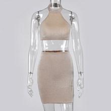 Simenual, блестящая Сексуальная Клубная одежда для женщин, модные комплекты для вечеринок без рукавов с открытой спиной, комплект из 2 предметов...(Китай)