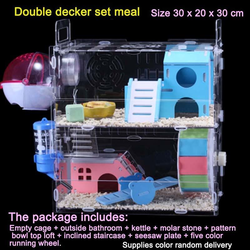 Многослойная клетка для хомяка, прозрачный акриловый домик с аксессуарами для хомяка, для морской свинки, маленьких животных, спящих и игра...(Китай)