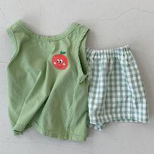 Комплект одежды для маленьких мальчиков, мягкий жилет без рукавов, клетчатые шорты, комплект одежды для маленьких девочек, Детский костюм, ...(Китай)