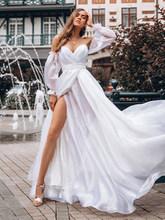 LORIE дешевые шифоновые пляжные свадебные платья 2020 пышные рукава белые лучшие свадебные платья с открытой спиной с v-образным вырезом Формал...(China)