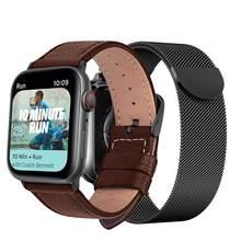 Кожаный ремешок с миланским ремешком для Apple Watch серии 5/4/3/2 38 мм 42 мм 40 мм 44 мм браслет из нержавеющей стали для iwatch(Китай)