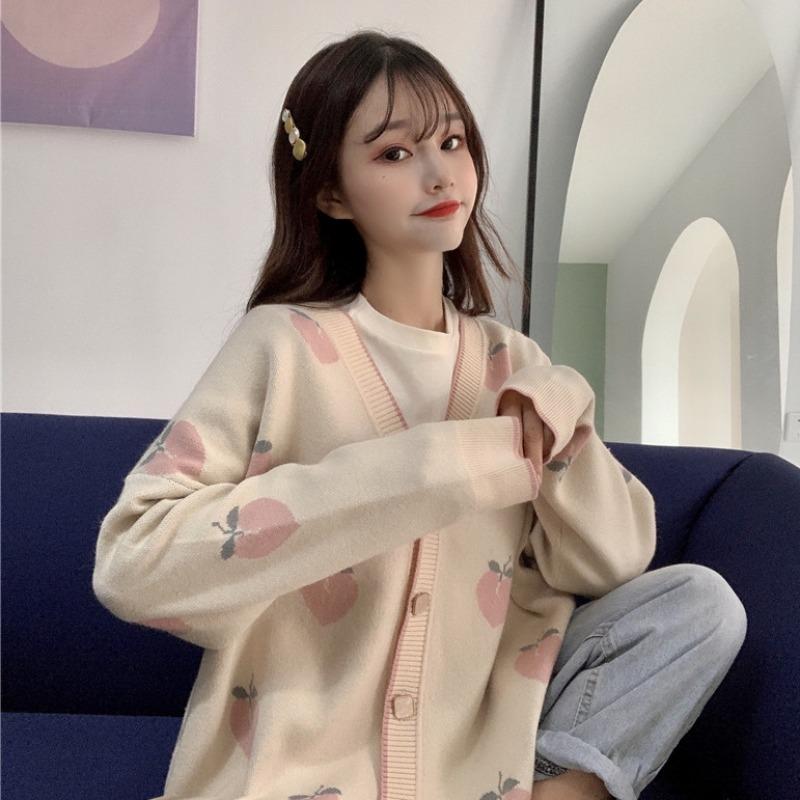 Neploe Sweater Cardigan Cute Pink Coat Women Peach Cardigans Knitted Oversized Jacket 2020 Korean Autumn Long Sleeve Pull Femme