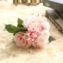 Корейские украшения для дома, аксессуары, розовый букет, имитация свадебного дома, Декоративные искусственные цветы, растительный декор, на...(Китай)