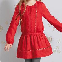 Платье для девочек с длинными рукавами; Сезон осень-зима; Платья для девочек; Рождественская одежда; Оптовая продажа; Одежда больших размеро...(Китай)