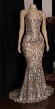 Блестящее платье Русалочки с блестками для выпускного вечера 2020 Королевское синее вечернее платье с длинным рукавом(Китай)
