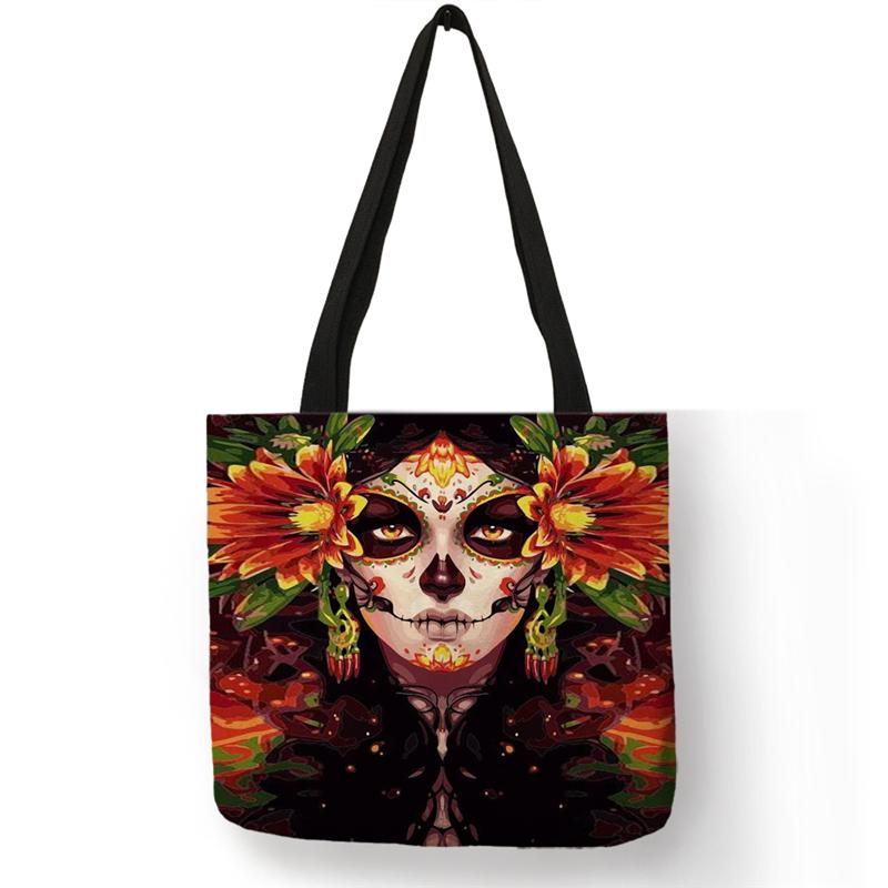 B01104 Сумка-тоут с цветочным принтом в виде черепа для женщин на Хеллоуин, сумки для покупок с изображением сахарного черепа для девушек, боль...(Китай)