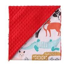 Одеяла для новорожденных, теплые, хлопковые, двухслойные, для коляски, для сна, шапочка-бини с мультяшным рисунком, детское постельное белье,...(Китай)