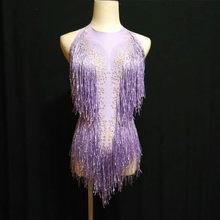 Блестящая золотая кисточка, боди, женские наряды со стразами, блестящие бусы, костюм, цельная Одежда для танцев, певица, сценический купальн...(Китай)