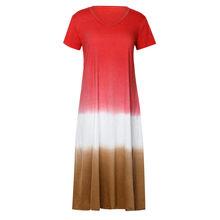 Женское длинное платье макси в полоску богемного размера плюс, свободное платье с галстуком-бабочкой, v-образным вырезом и коротким рукавом(Китай)