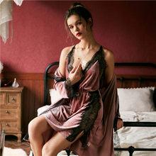 JULY'S SONG Модный женский зимний пижамный комплект, бархатный халат, платье, комплект, осень, сексуальный кружевной слинг, женская пижама, ночна...(Китай)