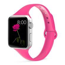 Тонкий ремешок для apple watch 5 4, ремешок correa apple watch 44 мм 40 мм 42 мм 38 мм iwatch 5 4 3 2 1 силиконовый браслет(Китай)