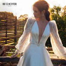 Vestido de Noiva винтажное атласное свадебное платье трапециевидной формы с v-образным вырезом 2020 Бохо с пышными рукавами и кружевным шлейфом по ин...(Китай)