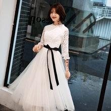Белые платья для выпускного вечера для девочек It's Yiiya AR306, элегантные кружевные торжественные платья трапециевидной формы с высоким воротни...(Китай)