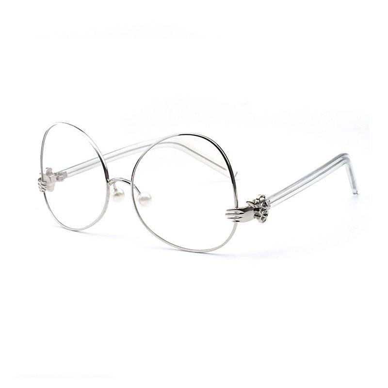 SO & EI модные большие овальные женские очки, оправа, уникальные жемчужные носовые упоры, прозрачные линзы, очки для мужчин, оптические металли...(Китай)