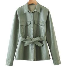 Женские куртки с отложным воротником, однобортные Куртки из искусственной кожи с карманами, элегантные женские пальто с длинным рукавом, HX(Китай)